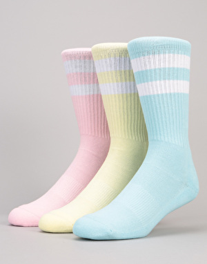 Route One Classic Crew Socks 3 Pack - Pastel/White