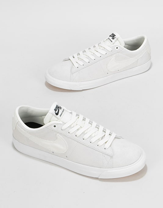 Nike SB GT Blazer Low Skate Shoes - Summit White/Summit White-Obsidian