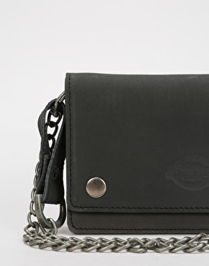 Dickies Deedsville Leather Wallet & Chain - Black