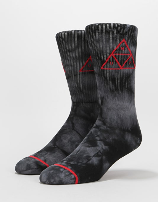 e56fcfc96cd HUF Spot Dye Triple Triangle Crew Socks - Black
