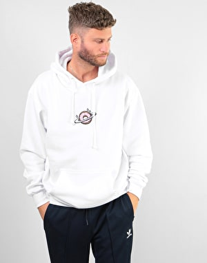 Skateboard Café Planet Donut Embroidered Pullover Hoodie - White