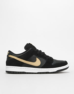 Nike SB Dunk Low Pro Skate Shoes - Black/Metallic Gold-White