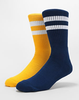 Route One Classic Crew Socks 2 Pack - Mustard/Navy