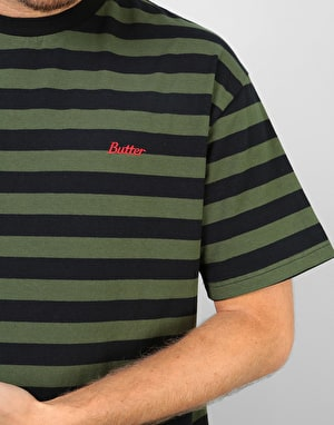 Butter Goods Cycle Stripe T-Shirt - Olive/Black