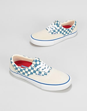 Vans Era Pro Skate Shoes - (Checker) Classic White/Blue Ashes