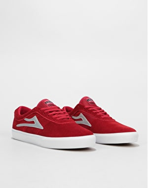Lakai Sheffield Skate Shoes - Red/Silver Suede