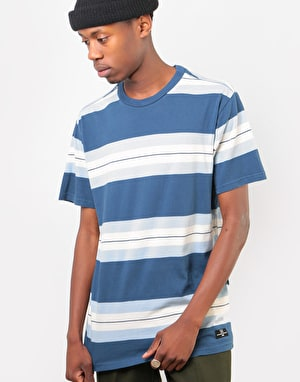 RVCA Oxnard Stripe T-Shirt - Seattle Blue
