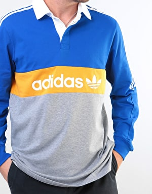 Adidas Heritage L/S Polo Shirt - Collegiate Royal/Tactile Yellow/White