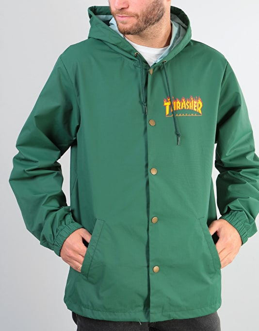 Thrasher Flame Logo Hooded Coach Jacket - Forest Green