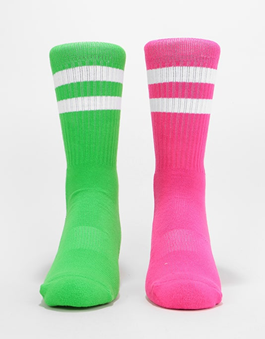 Route One Classic Crew Socks 2 Pack - Neon Green/Neon Pink