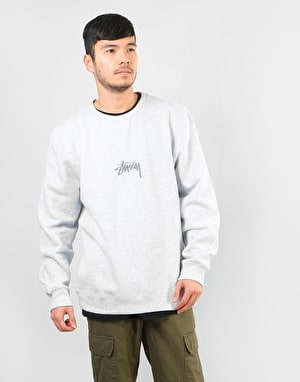 Stüssy Stock Applique Crew - Grey Heather