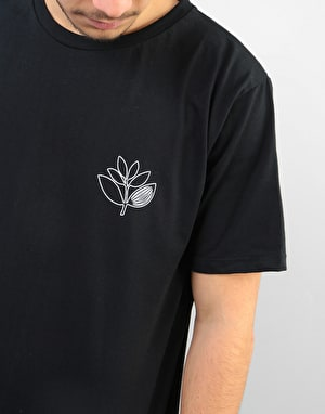 Magenta Plant Outline T-Shirt - Black