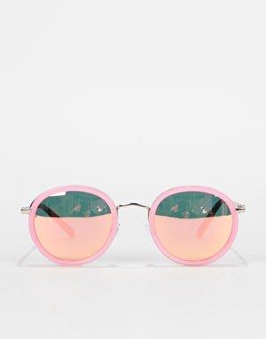 Glassy Sunhater Lincoln Sunglasses - Transparent Pink/Pink Mirror