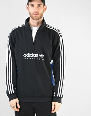 Adidas Apian Half-Zip Sweatshirt - Black/White/Active Blue