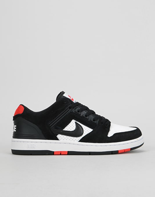 Nike SB Air Force II Low Skate Shoes - Black Black-White-Habanero Red  4d37c00079cc