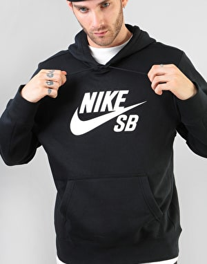 Nike SB Icon Essential Pullover Hoodie - Black/White