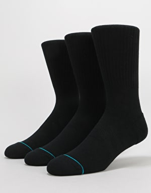 Stance Icon 3 Pack Classic Crew Socks - Black