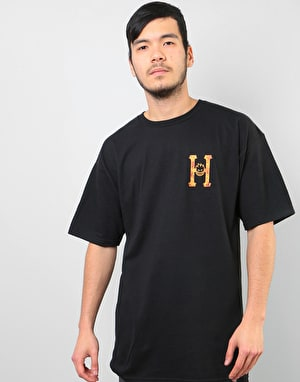 HUF x Spitfire Flaming H T-Shirt - Black