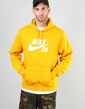 Nike SB Icon Essential Pullover Hoodie - Yellow Ochre/White