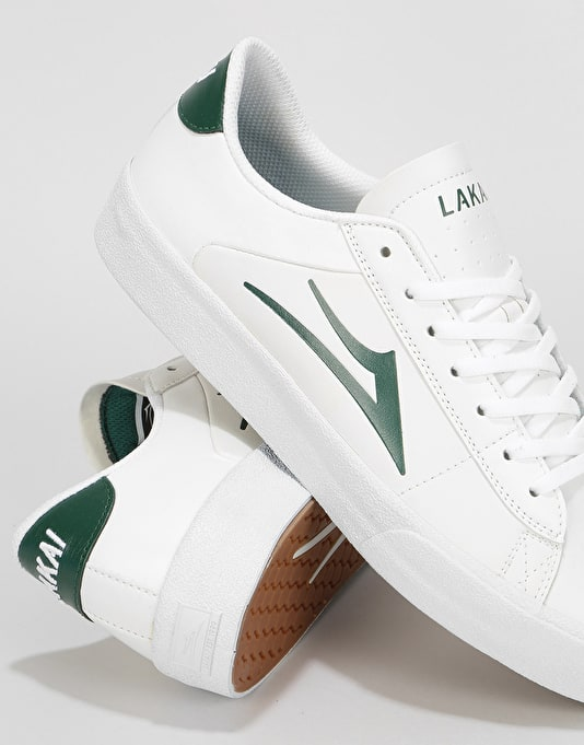 Lakai Newport Skate Shoes - White/Pine Leather