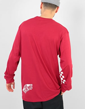 Vans Distorted L/S T-Shirt - Cardinal