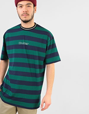 Butter Goods Jacquard Stripe T-Shirt - Forest/Navy