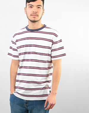 Brixton Hilt Washed Pocket T-Shirt - White/Navy/Red