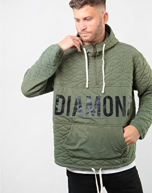 Diamond Quilted Quarter Zip Pullover Hoodie - Olive