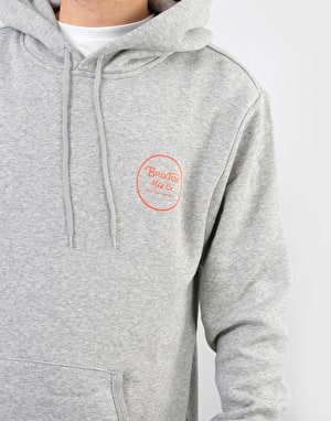 Brixton Wheeler Pullover Hoodie - Heather Grey/Orange