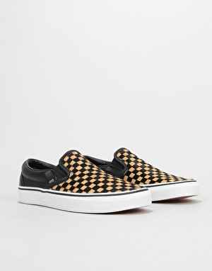 Vans Classic Slip-On Skate Shoes - (Calf Hair) Checkerboard/True White
