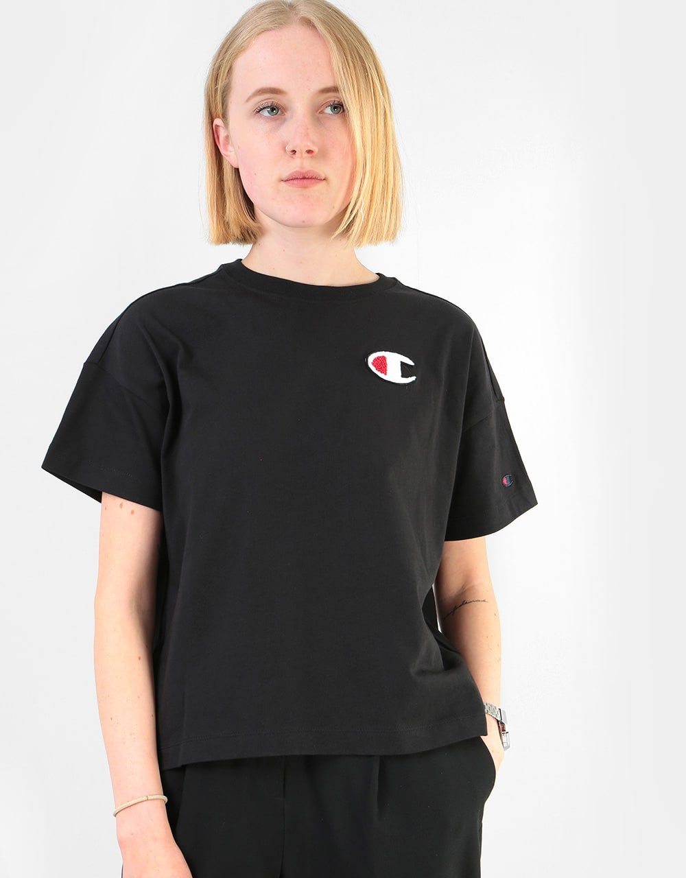 Champion Womens C Logo Crewneck T Shirt NBK