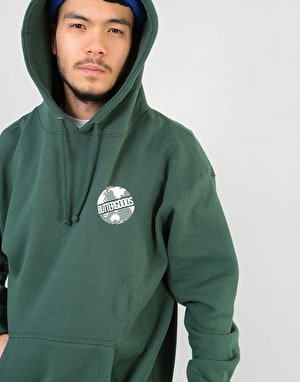 Butter Goods Axis Worldwide Logo Pullover Hoodie - Forest Green