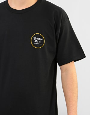 Brixton Wheeler II T-Shirt - Black/Yellow
