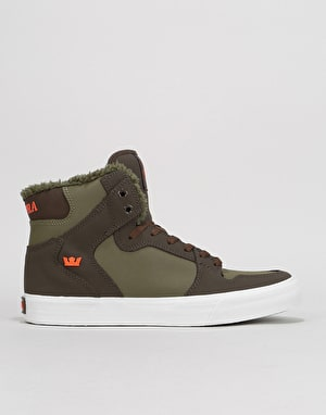 Supra Vaider Skate Shoes - Demitasse/Olive Night/White