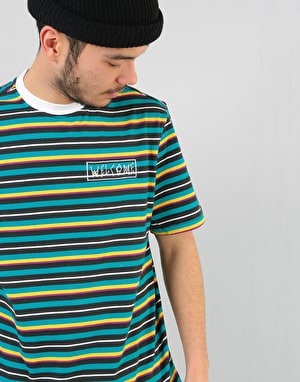 Welcome Surf Stripe Embroidered Knit T-Shirt - Black/White