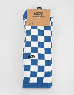 Vans Checkerboard Crew Socks - True Blue/White Check