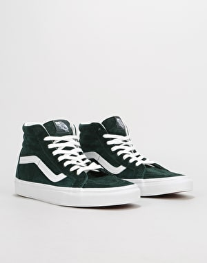 Vans Sk8-Hi Reissue Skate Shoes - (Pig Suede) Darkest Spruce/White