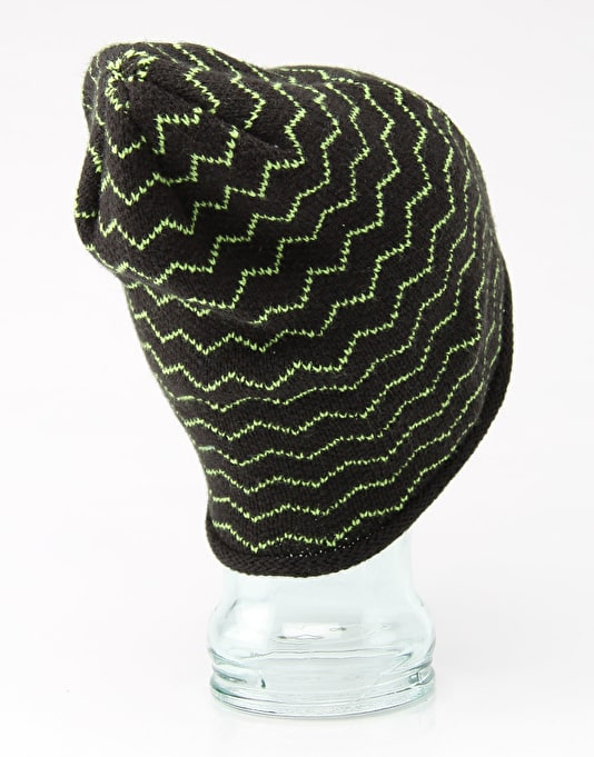Route One Stripey Jack Beanie - Black/Lime
