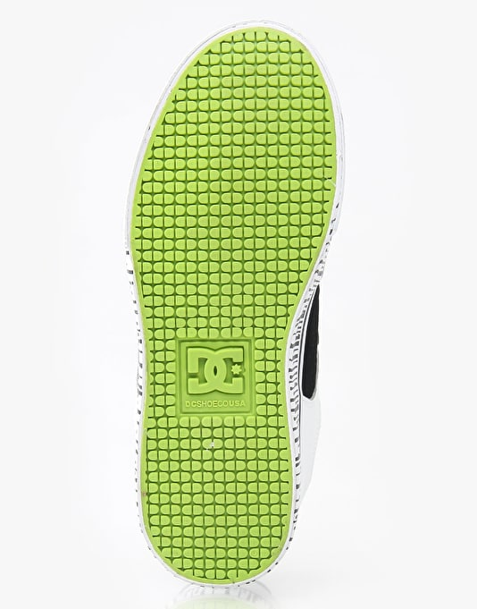 DC Pure Boys Skate Shoes - Wht/blk/lime