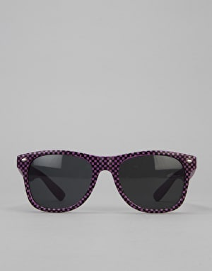 Route One Basics Check Wayfarer Sunglasses - Purple/Black