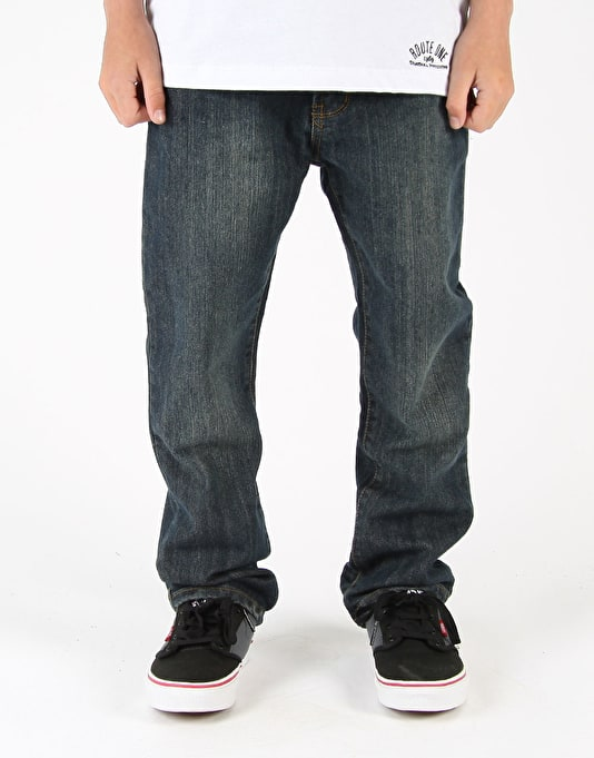 Route One Straight Fit Boys Jeans - Washed Indigo