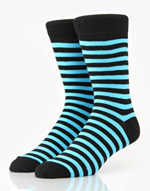 Route One Striped Socks - Black/Blue