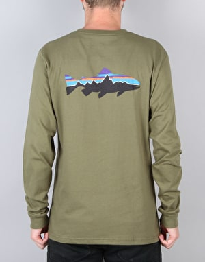 Patagonia L/S Fitz Roy Trout T-Shirt - Fatigue Green