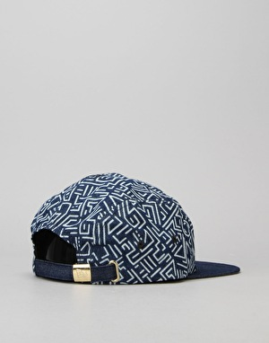 New Era Denim Print Camper 5 Panel Cap - Royal/Gold