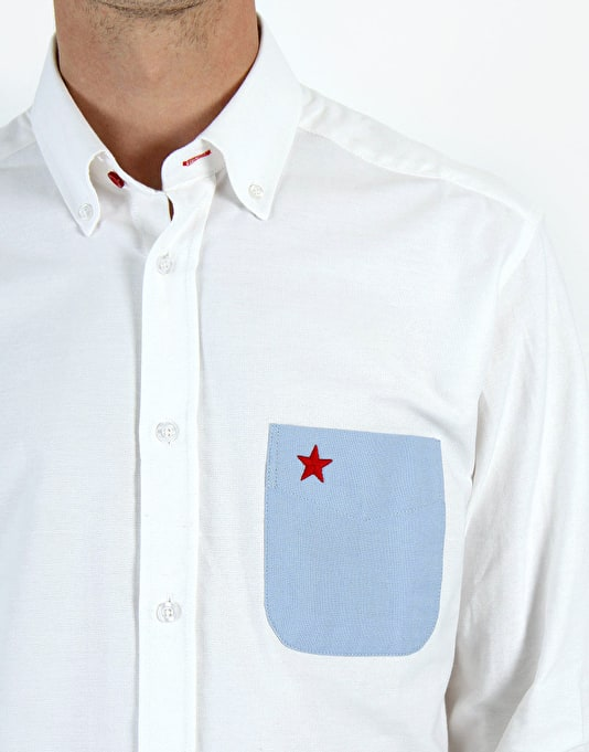 RUE Havana Oxford Contrast Pocket Shirt - White
