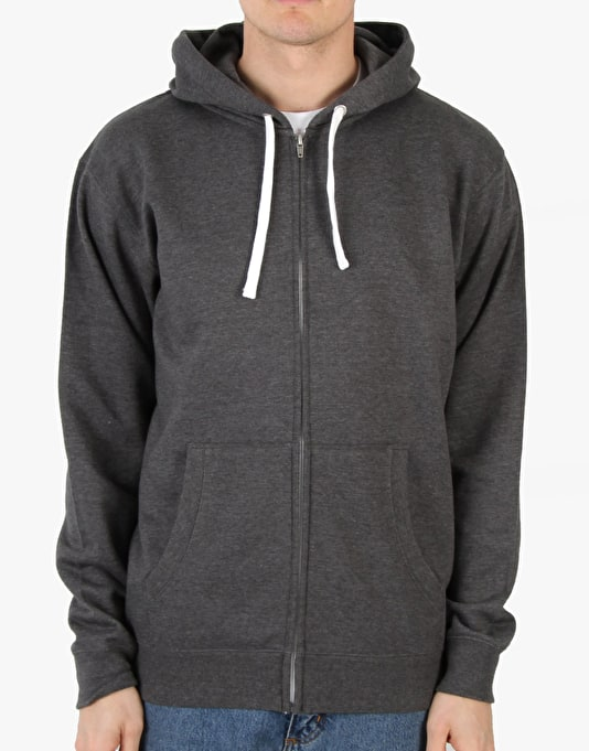 Route One Basic Zip Hoodie - Dark Heather Marl