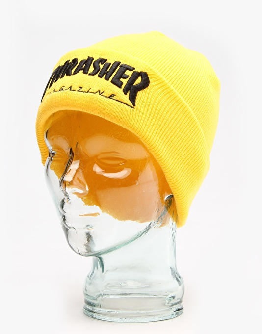 Thrasher Embroidered Logo Beanie - Yellow/Black