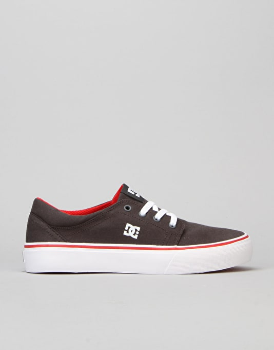 DC Trase TX Boys Skate Shoe - Grey/Red/White