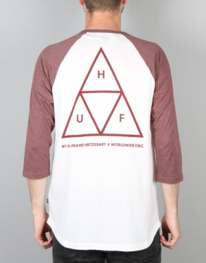 HUF Triple Triangle Raglan T-Shirt - White/Wine Heather