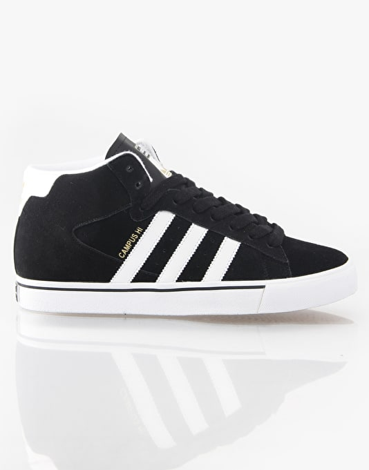 Adidas Campus Vulc Mid Skate Shoes - Black/White/Gold